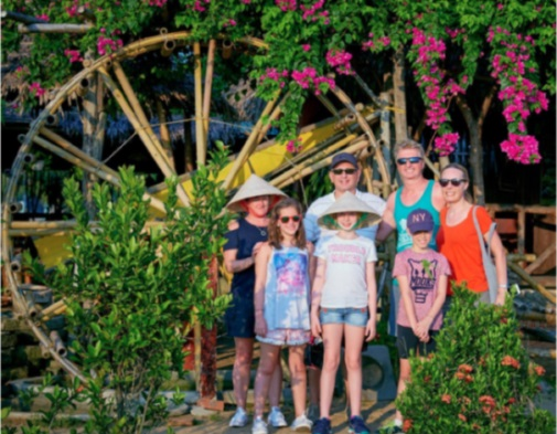 Happy family on a Hoi An & Da Nang private tour with Man Nguyen